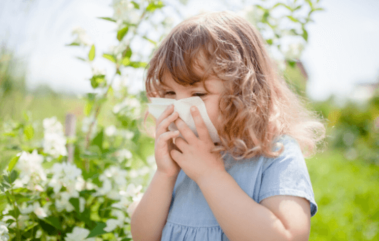 Little girl with nasal allergies during allergy season in Melbourne, FL